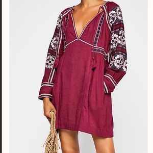 Free People all my life embroidered smock dress xs